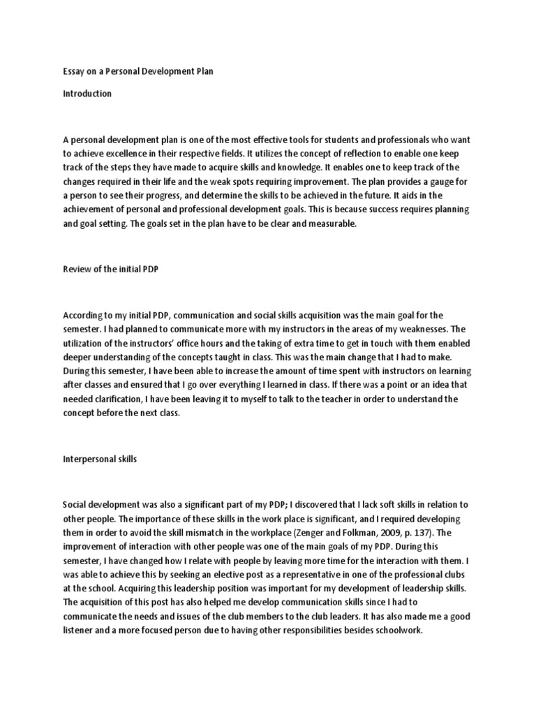 Essay on a Personal Development Plan | Examples and Samples