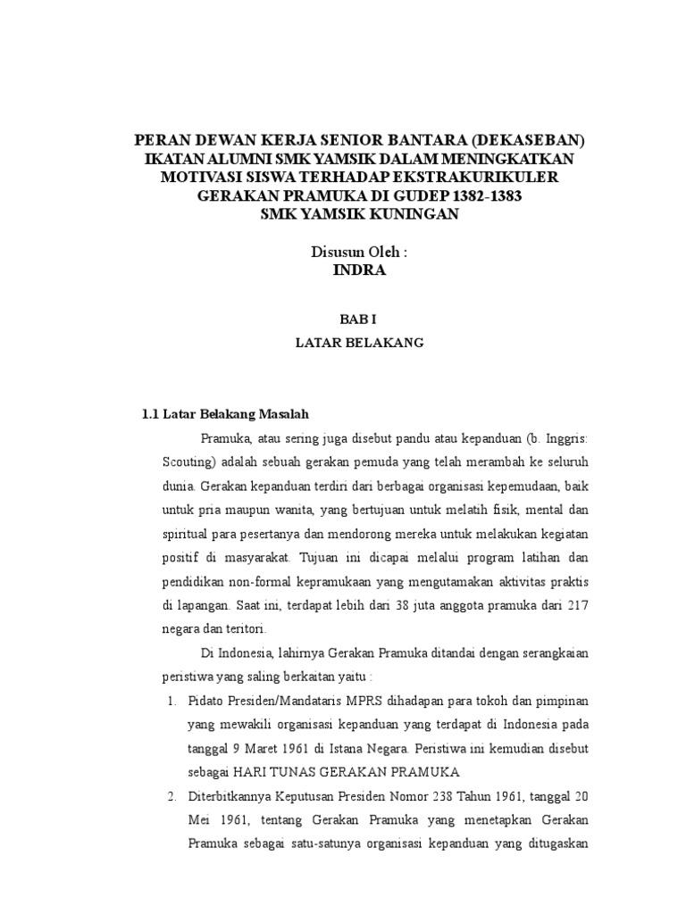 Makalah Pramuka Peran Dewan Kerja Senior Bantara Indra