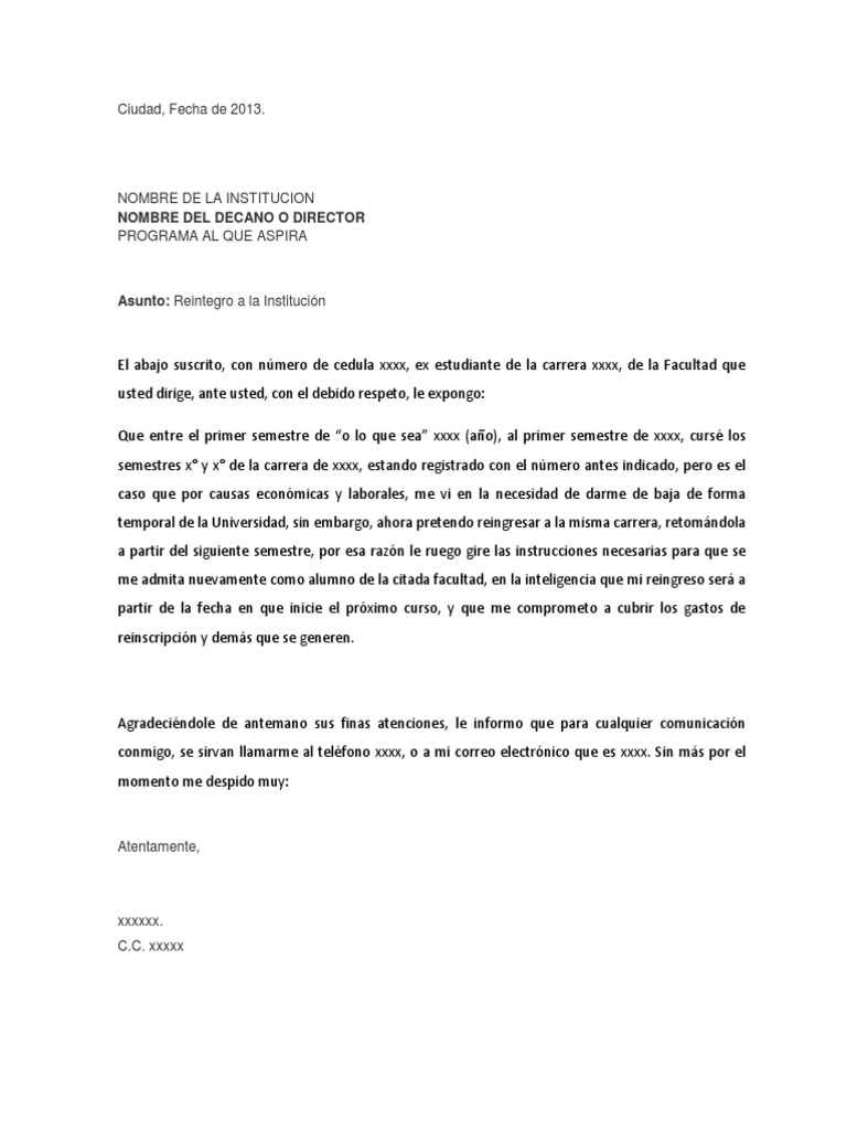 Carta de Reingreso a La Universidad