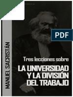 53697631 Manual Sacristan Tres Leciones Sobre La Universidad y La Divison Del Trabajo