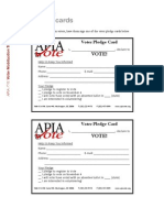 Sample Voter Pledge Cards