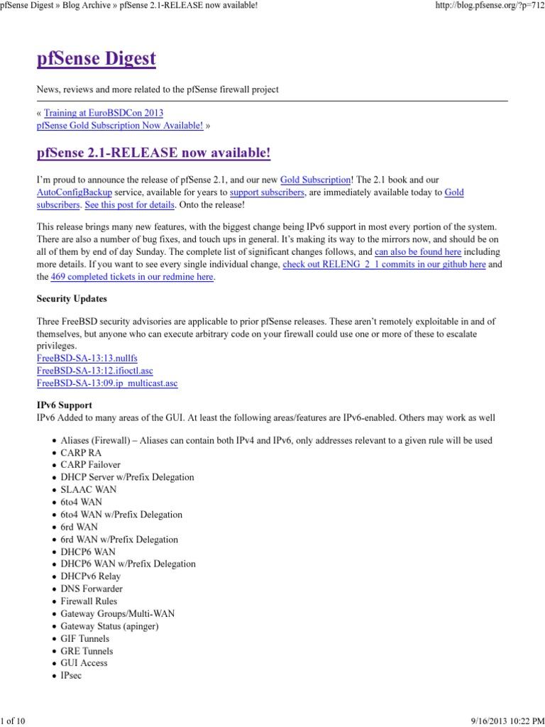 PfSense Digest (PfSense 2 1) | Ip Address | Domain Name System