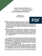 La recepción de Kant en Husserl y la fundamentacion de su filosofia primera transcendental fenomenologica - Gerhard Funke