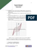 XII Math Ch7 Integrals ChapterNotes Nov