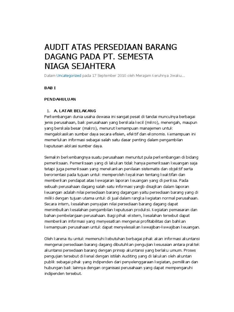 Audit Atas Persediaan Barang Dagang Pada Pt
