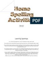 spelling activity bank - home activities