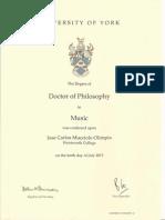 Zezo University of York PhD Doctor of Philosophy in Music