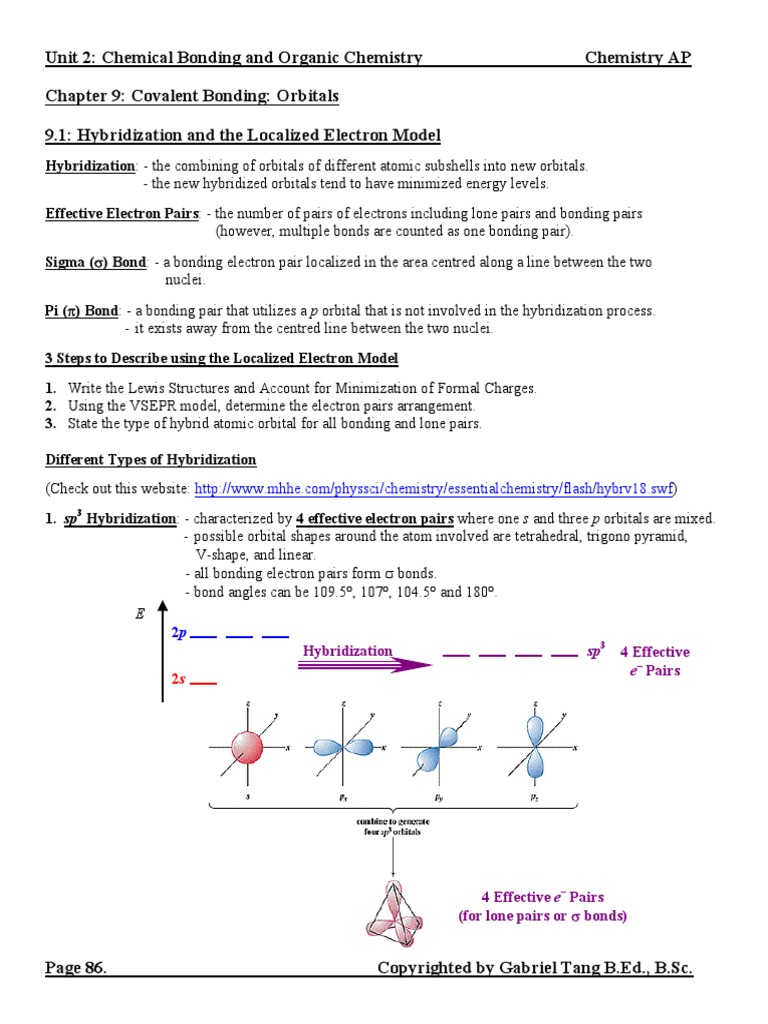 Chapter 09 Notes (answers) pdf | Chemical Bond | Covalent Bond