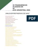 ALIMENTOS TRANSGÉNICOS COMERCIALIZADOS EN ARGENTINA