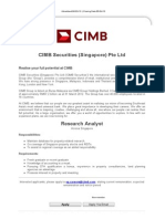 Research Analyst - CIMB Securities (Singapore) Pte Ltd