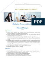 Financial Analyst - Manhattan Resources Limited