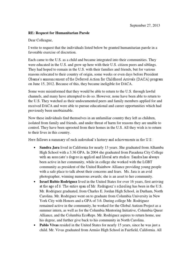 dream 30 letter requesting humanitarian parole