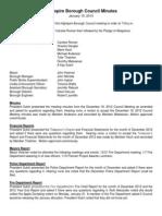 Highspire Borough Council January 15, 2013 Meeting Minutes