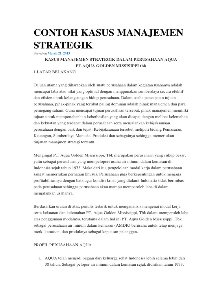 Contoh Kasus Pt Aqua Manajemen Strategik