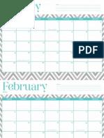 OhSoLovely 2014 Calendar (Turquoise Chevron)