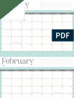 OhSoLovely 2014 Calendar (Mint Trellis)