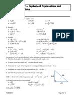 Unit 2 - Equivalent Expressions and Quadratic Functions 2013-2
