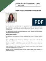 DRA RAQUEL CORONEL. DECENTRALIZACIÓN PRODUCTIVA Y LA TERCERIZACIÓN