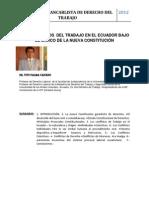 Dr. Tito Palma Caicedo. Los Conflictos Del Trabajo en El Ecuador Bajo El Marco de La Nueva Consti