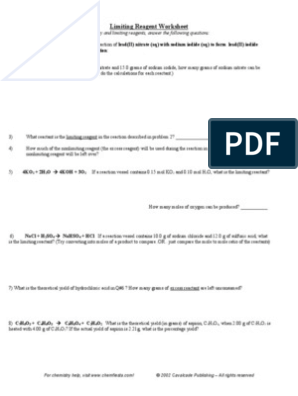Limiting Reagent Worksheet | Stoichiometry | Atoms