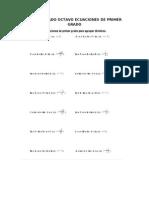 Taller Grado Octavo Ecuaciones de Primer Grado