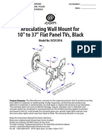 User Instructions for DCD13016 Articulating Wall Mount for 10 in to 37 in Flat Panel TVs
