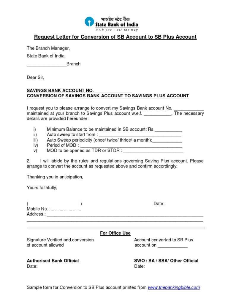 Request Letter For Conversion Of Account To Savings Plus