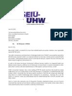 SEIU-UHW's  Letter Opposing California Senate Bill 746