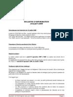 bulletin d'information juillet 2009