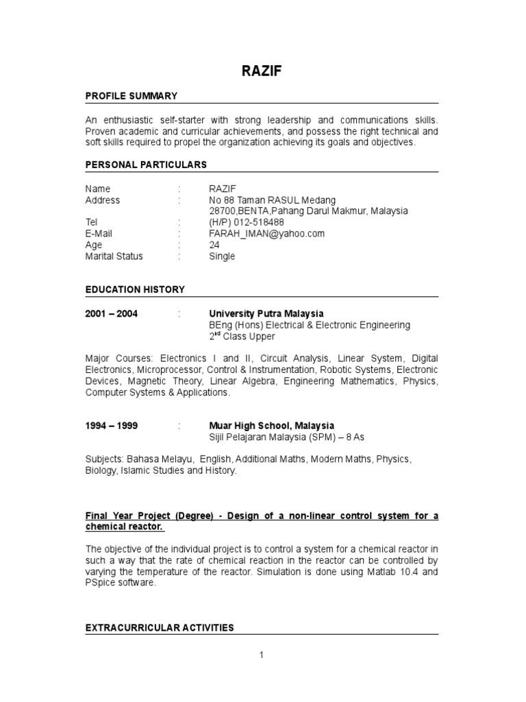 Fresh Graduate Resume Sample