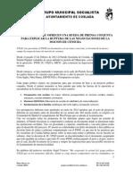 PSOE Coslada e IU ofrecen una rueda de prensa conjunta para explicar la ruptura de las negociaciones de la mocion de censura