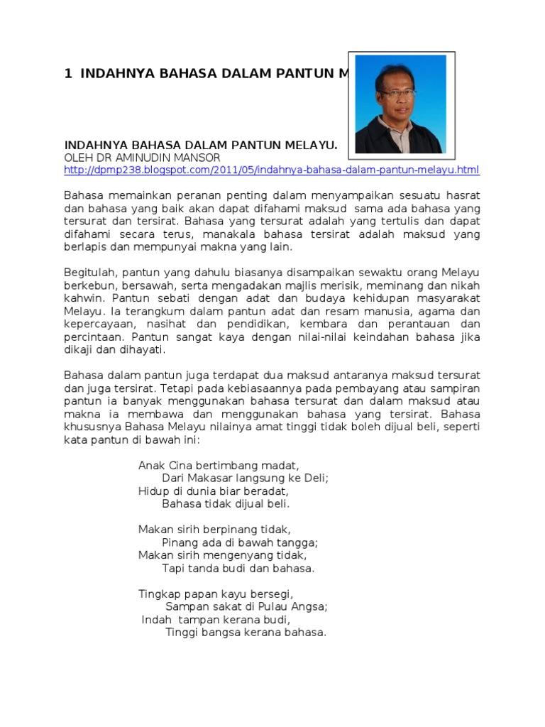 Indahnya Bahasa Dalam Pantun Melayu Dr Aminudin Mansor