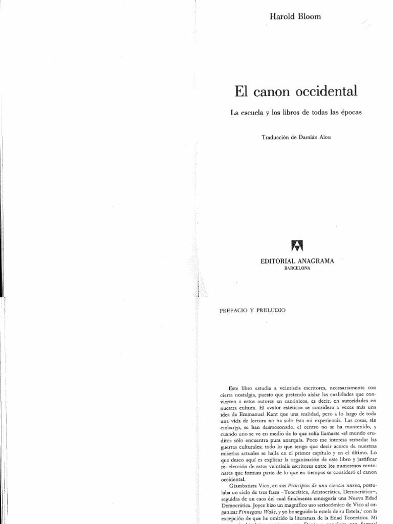 Harold Bloom El Canon Occidental