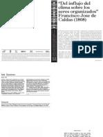 Francisco Jose de Calda - Del Influjo Del Clima Sobre Los Seres Organizados.