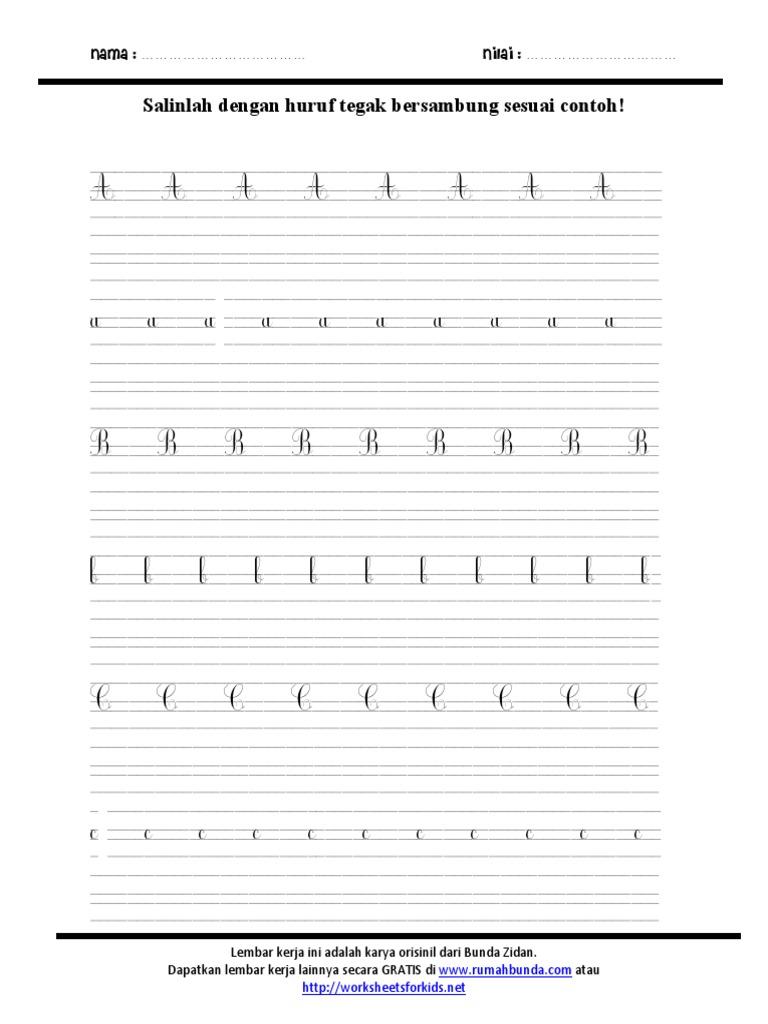 Worksheets Worksheet-menulis-tegak-bersambung menulis huruf tegak bersambung 1