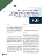 Descripción de casos de responsabilidad médica por prestación de servicios de salud a IPS 1999–2006 SCARE–FEPASDE