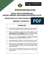 Jadual Peperiksaan Penggal 3 STPM 2013