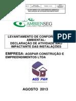 AGSPAR- DECLARAÇÃO DE CONFORMIDADE AMBIENTAL-ATIVIDADE NAO IMPACTANTE