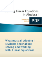 Solving Linear Equations in Algebra I
