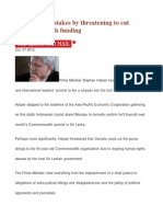 Harper Raises Stakes by Threatening to Cut Commonwealth Funding