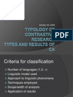 Typology of Contrastive Research