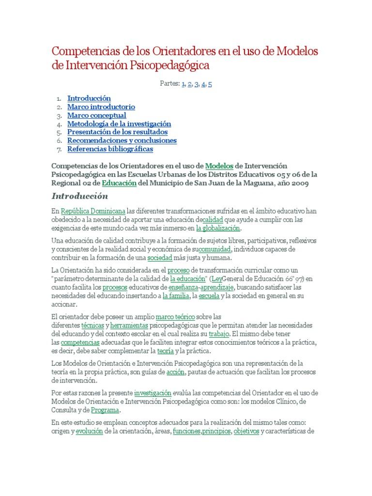 Competencias de los Orientadores en el uso de Modelos de ...
