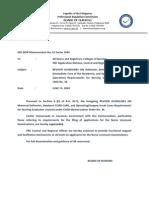 PRC-BON Memorandum Order No. 2 Series of 2009