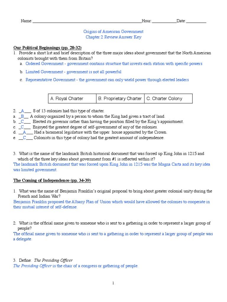 Chapter 2 Unit Review Answer Key : United States ...