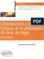 Eustache Kouvelakis-L'Introduction a La Critique de La Philosophie Du Droit de Hegel, Karl Marx (2000)