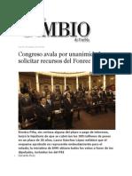 04-10-2013 Diario Matutino Cambio de Puebla - Congreso Avala Por Unanimidad Solicitar Recursos Del Fonrec