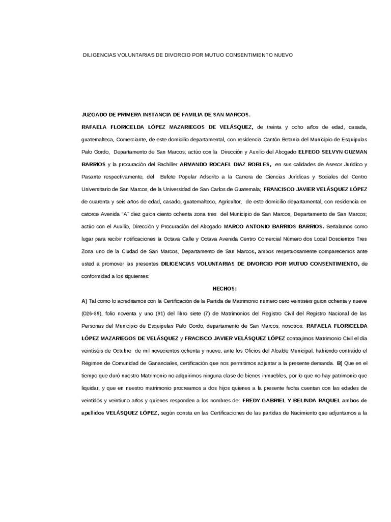 Divorcio Voluntario Carmen y Juan