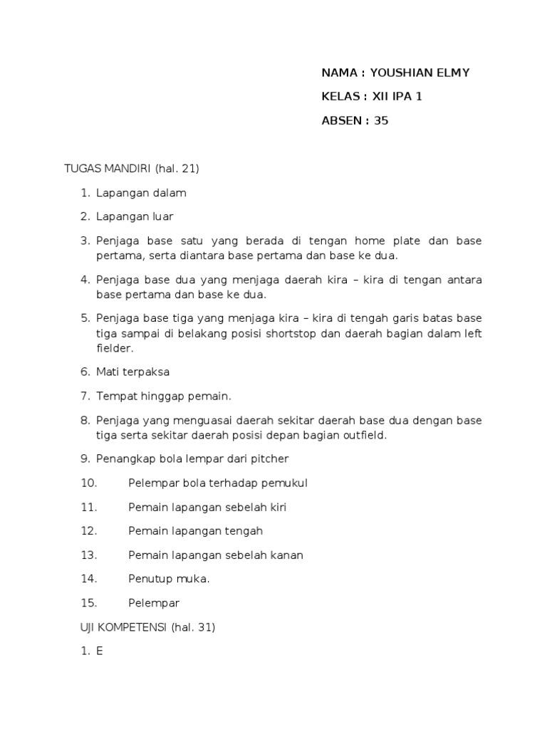 Kunci Jawaban Lks Penjaskes Kelas 8 Semester 1 Kurikulum 2013 Guru Galeri