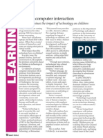 Human-Computer Interaction. Forum examines the impact of technology on children. (FREE PDF version)
