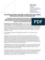 New CIR Report Predicts That Chip-Level Optical Interconnect Market Will Generate $520 million in Revenues by 2019